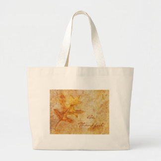 Golden Textured Leaf Jumbo Tote Bag