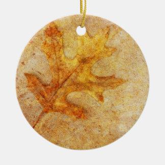 Golden Textured Leaf Ceramic Ornament