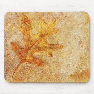Golden Textured Leaf Mouse Pad