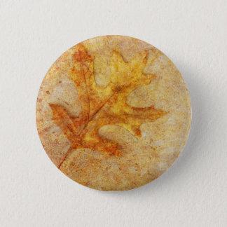 Golden Textured Leaf Pinback Button