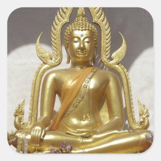 Golden Thai Buddha Square Sticker