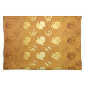 Golden Thanksgiving with Turkey Cloth Placemat