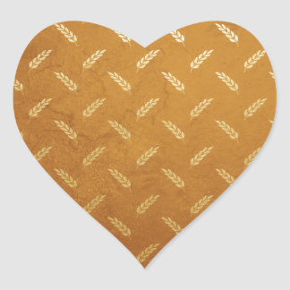 Golden Thanksgiving with Wheat Seed Heads Heart Sticker