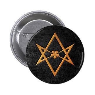 Golden Thelemic Unicursal Hexagram Black Leather Button