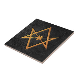 Golden Thelemic Unicursal Hexagram Black Leather Ceramic Tile