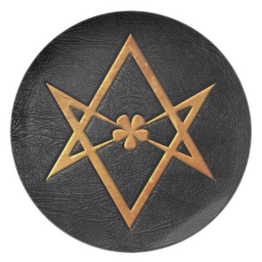 Golden Thelemic Unicursal Hexagram Black Leather Dinner Plate