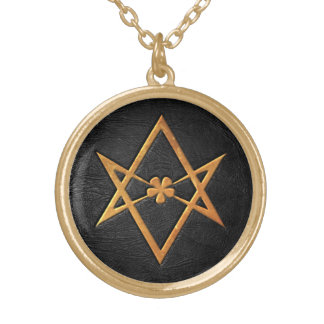 Golden Thelemic Unicursal Hexagram Black Leather Gold Plated Necklace