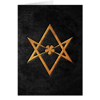Golden Thelemic Unicursal Hexagram Black Leather Greeting Card