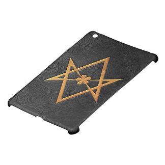 Golden Thelemic Unicursal Hexagram Black Leather iPad Mini Case