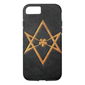 Golden Thelemic Unicursal Hexagram Black Leather iPhone 8/7 Case