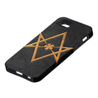 Golden Thelemic Unicursal Hexagram Black Leather iPhone SE/5/5s Case