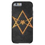 Golden Thelemic Unicursal Hexagram Black Leather iPhone 6 Case