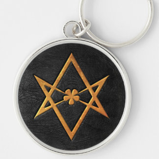 Golden Thelemic Unicursal Hexagram Black Leather Silver-Colored Round Keychain