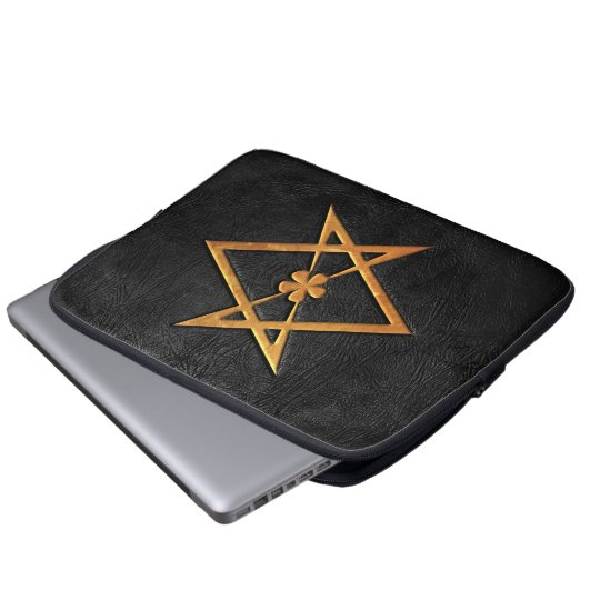 Golden Thelemic Unicursal Hexagram Black Leather Laptop Sleeve