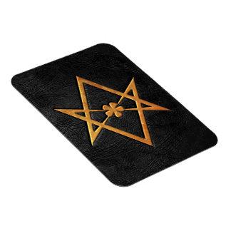 Golden Thelemic Unicursal Hexagram Black Leather Magnet
