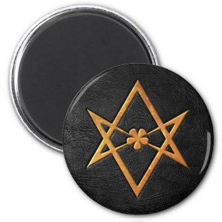 Golden Thelemic Unicursal Hexagram Black Leather 2 Inch Round Magnet