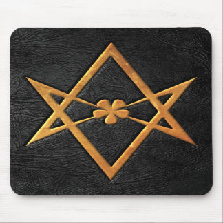 Golden Thelemic Unicursal Hexagram Black Leather Mouse Pads