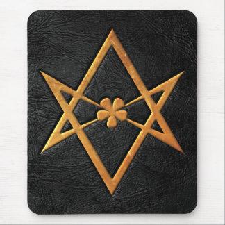 Golden Thelemic Unicursal Hexagram Black Leather Mouse Pad