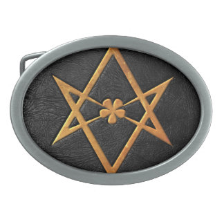 Golden Thelemic Unicursal Hexagram Black Leather Oval Belt Buckle