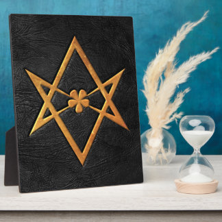 Golden Thelemic Unicursal Hexagram Black Leather Plaque