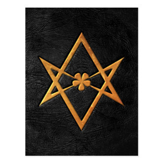 Golden Thelemic Unicursal Hexagram Black Leather Postcard