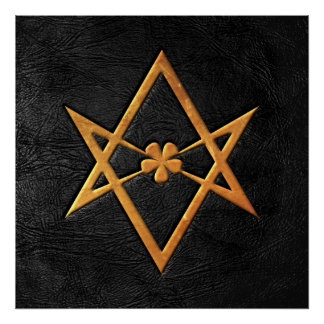 Golden Thelemic Unicursal Hexagram Black Leather Poster