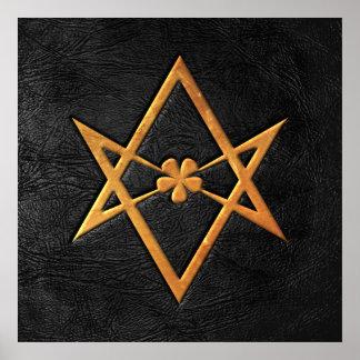 Golden Thelemic Unicursal Hexagram Black Leather Poster