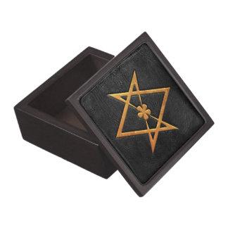 Golden Thelemic Unicursal Hexagram Black Leather Premium Trinket Boxes