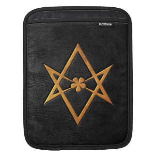 Golden Thelemic Unicursal Hexagram Black Leather Sleeve For iPads