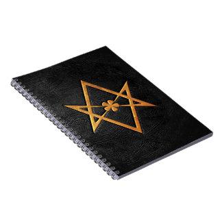 Golden Thelemic Unicursal Hexagram Black Leather Spiral Notebook