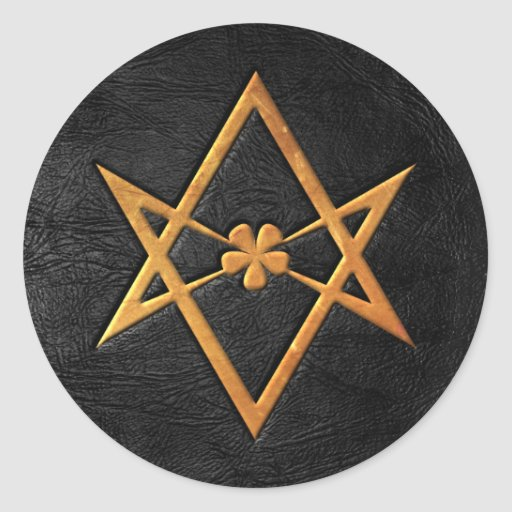 Golden Thelemic Unicursal Hexagram Black Leather Classic Round Sticker