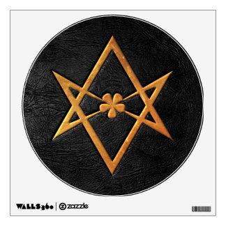 Golden Thelemic Unicursal Hexagram Black Leather Wall Sticker
