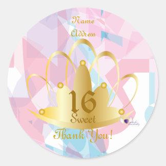 Golden Tiara Sweet, 16 Sticker-Cust. Classic Round Sticker