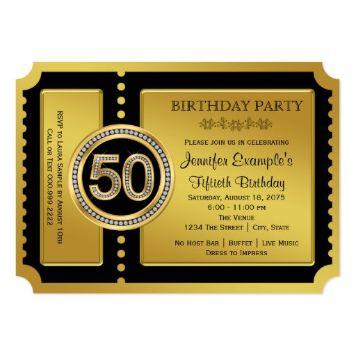 golden ticket 50th birthday party card
