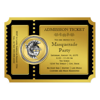 Golden Ticket Black and Gold Masquerade Party Card