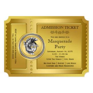 Golden Ticket Gold Masquerade Party Card