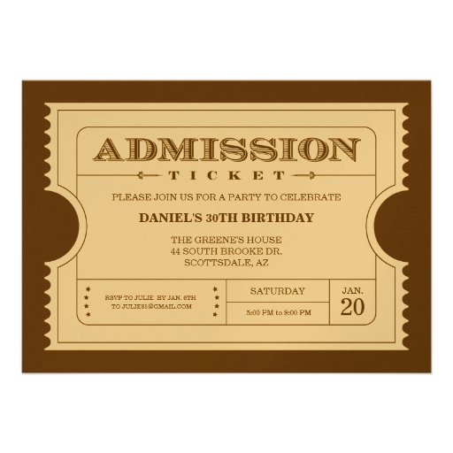 Personalized Golden ticket Invitations ...