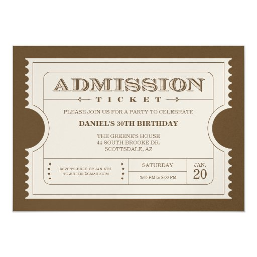 Golden Ticket Invitations on Gold Sparkle Paper