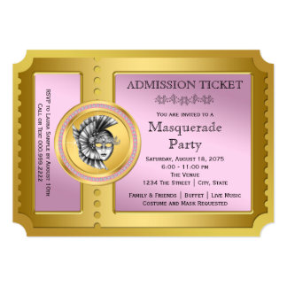 Golden Ticket Pink and Gold Masquerade Party Card