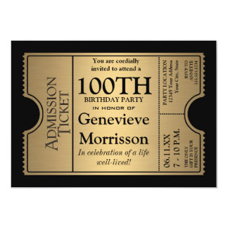 "Golden Ticket Style 100th Birthday Party Invite 5"" X 7"" Invitation Card"