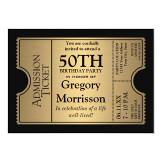 Golden Ticket Style 50th Birthday Party Invite