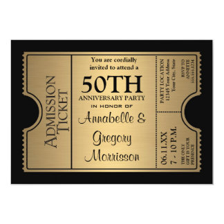 Golden Ticket Style 50th Wedding Anniversary Party 5x7 Paper Invitation Card