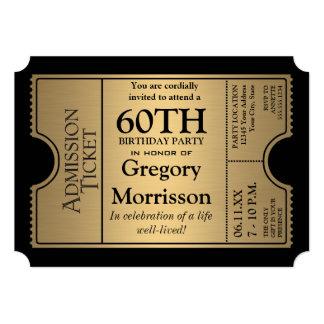 "Golden Ticket Style 60th Birthday Party Invite 5"" X 7"" Invitation Card"