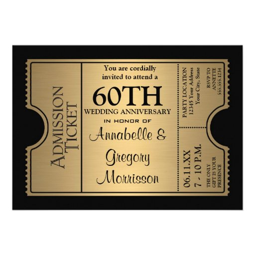 Golden Ticket Style 60th Wedding Anniversary Party Personalized Invite