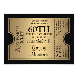 Golden Ticket Style 60th Wedding Anniversary Party 5x7 Paper Invitation Card