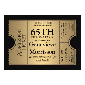 Golden Ticket Style 65th Birthday Party Invite