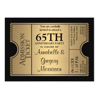 Golden Ticket Style 65th Wedding Anniversary Party 5x7 Paper Invitation Card