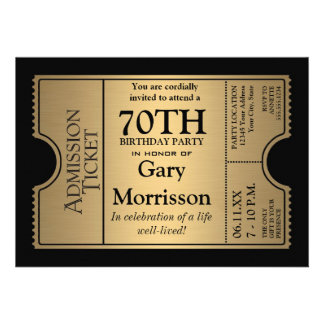 Golden Ticket Style 70th Birthday Party Invite