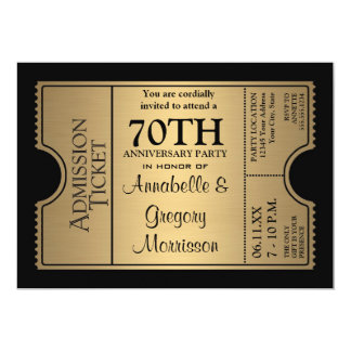 Golden Ticket Style 70th Wedding Anniversary Party 5x7 Paper Invitation Card