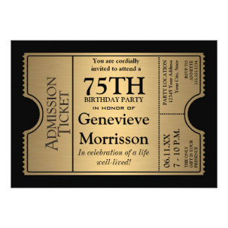 Golden Ticket Style 75th Birthday Party Invite